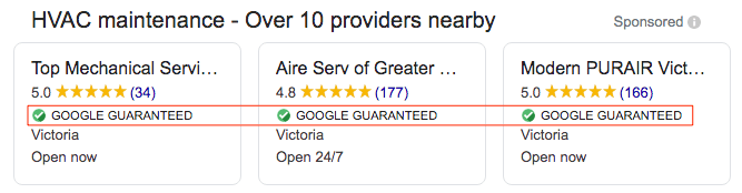 google guaranteed local services ads