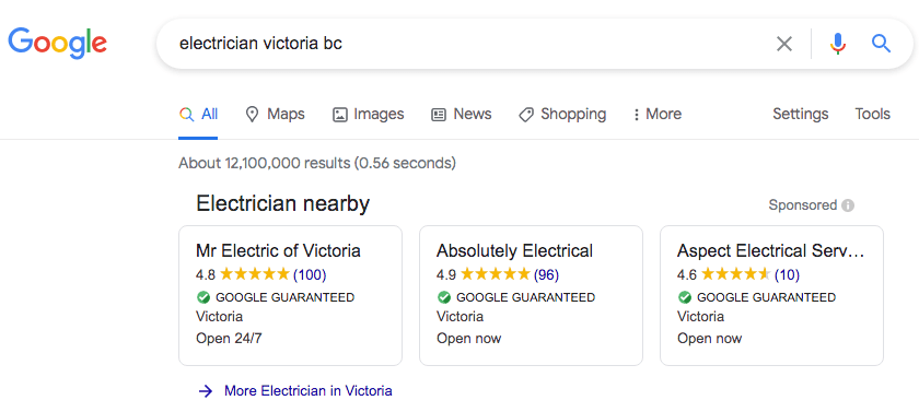 google local services ads for electrician in victoria bc