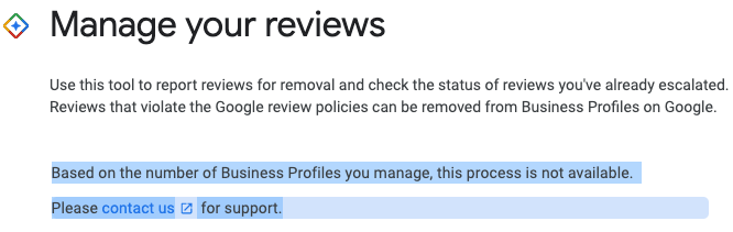 Google Review Removal Tool not available to agencies